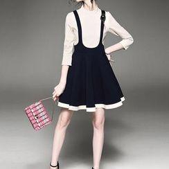 Alaroo - 七分袖假兩件A字連衣裙