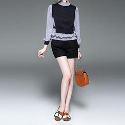 Alaroo - 連針織馬甲條紋襯衫