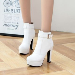 Shoes Galore - Platform Buckled Heeled Ankle Boots