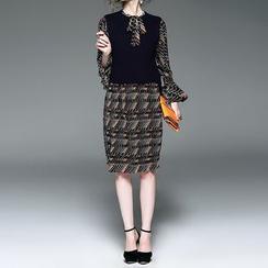 Alaroo - 套裝: 圖案長袖領結帶連衣裙 + 長尾針織馬甲