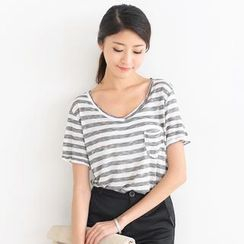 SO Central - Short-Sleeve Striped Pocket-Front T-Shirt