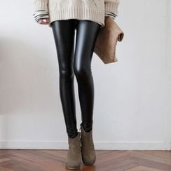 Ceres - Maternity Fleece-Lined Faux Leather Leggings