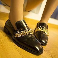 Mancienne - Chain-Accent Studded Loafers