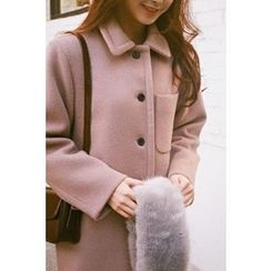 CHERRYKOKO - Collared Single-Breasted Wool Blend Coat