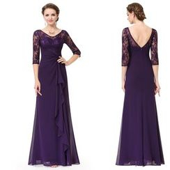 Ever Pretty - Elbow-Sleeve Lace Panel Evening Gown