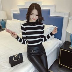 Honeydew - Mock-neck Stripe Knit Top