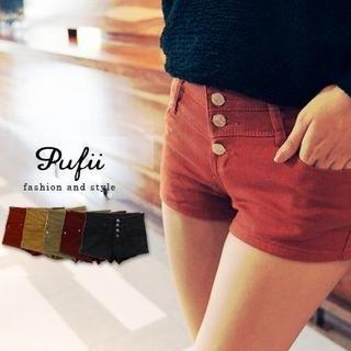PUFII - High-Waist Denim Shorts