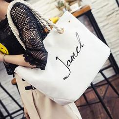 Clair Fashion - 韩版草写字母帆布侧背包
