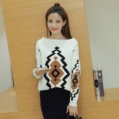 Ashlee - Set: Patterned Knit Sweater + Midi Skirt