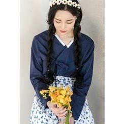 Dalkong - Set: Contrast-Trim Hanbok Top + Skirt