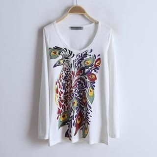 Flower Idea - Peacock-Print T-Shirt
