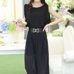 ARDAN - Set: Chiffon Sleeveless Top + Wide Leg Pants