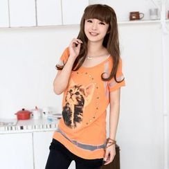 59 Seconds - Short-Sleeve Cat-Print Mesh-Panel Top