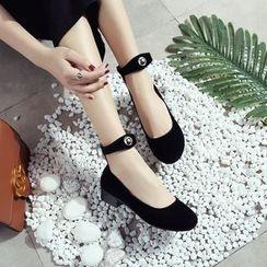Cinnabelle - Ankle Strap Velvet Flats