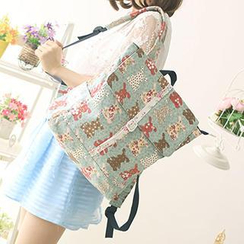 Canvas Love - Buckled Bear Print Canvas Backpack