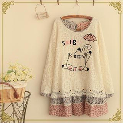 Fairyland - Long-Sleeve Cat Embroidered Lace Top