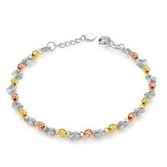 MaBelle - 14K Yellow, Rose And White Gold Flower and Beads Bracelet (17.5cm)