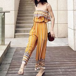 Shatan - Stripe Strapless Jumpsuit