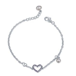 MBLife.com - 925 Sterling Silver with Freshwater Cultured Pearl Purple CZ Heart Bracelet (6')