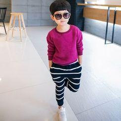檸檬嘟嘟 - 小童套裝: 套衫 + 條紋運動褲