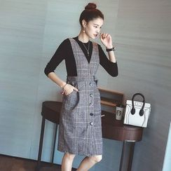 Shiga - Set: Long-Sleeve Knit Top + Check Pinafore Dress