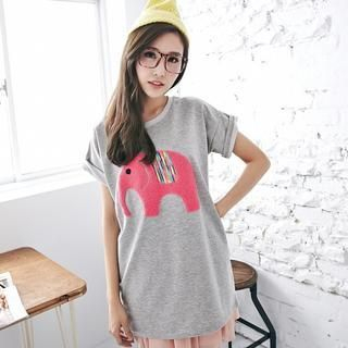 BAIMOMO - Short-Sleeved Elephant Appliqué Long T-Shirt