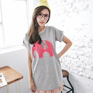 BAIMOMO - Short-Sleeved Elephant Appliqué Long T-Shirt