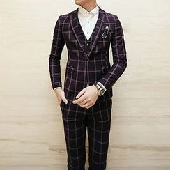 Besto - Set: Plaid Blazer + Vest + Dress Pants
