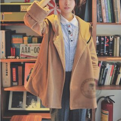 PANDAGO - 純色連帽披肩外套