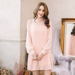 Tokyo Fashion - Long-Sleeve Stand-Collar Pleated Dress