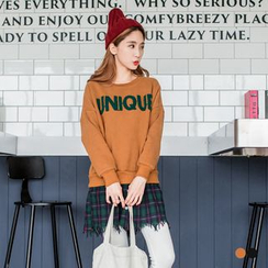 OrangeBear - Mock Two Piece Check Shirt Hem Letter Pullover