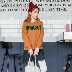 OrangeBear - 字樣內刷毛衛衣X不收邊格紋襯衫假兩件長版上衣
