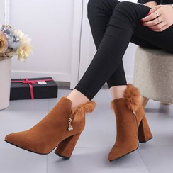One100 - Chunky-Heel Paneled Ankle Boots