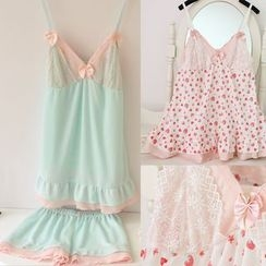 Snorie - Pajama Set: Bow Accent Camisole Top + Shorts