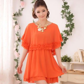 JK2 - Frilled Cape-Shoulder Chiffon Dress