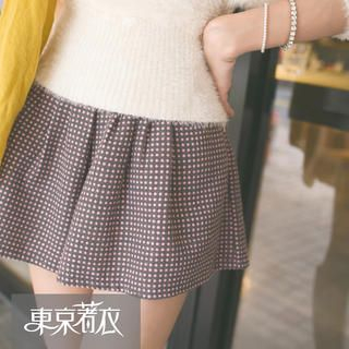 Tokyo Fashion - Band-Waist Dotted A-Line Culottes