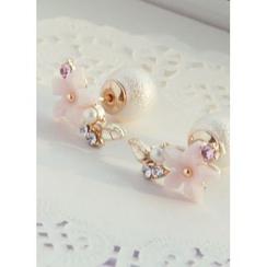 kitsch island - Flower Faux-Pearl Earrings