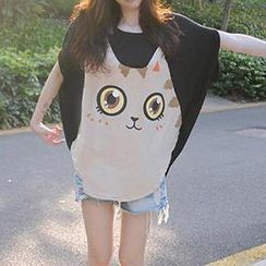 Dream Girl - Cat Print Oversized T-Shirt