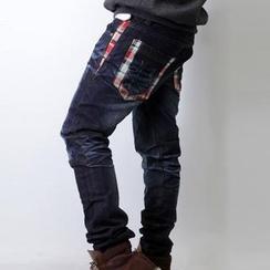 SeventyAge - 學院風蘇格蘭紋拼接深藍刷白牛仔褲