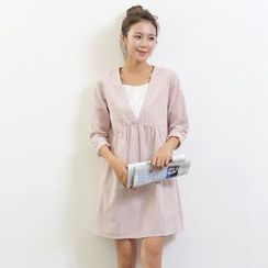 Waypoints - Pinstripe Mock Two-piece Linen Cotton Dress