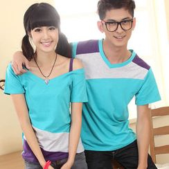 Ringnor - Couple Color-Block T-Shirt