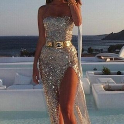 Katemi - Strapless Sequined Slit Party Dress