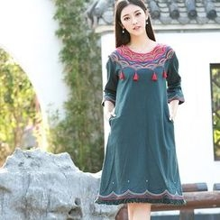 Diosa - Tasseled Fringe Hem 3/4 Sleeve Dress