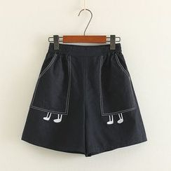 Mushi - Embroidered Gather-waist Shorts