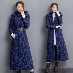 Diosa - Jacquard Hooded Long Padded Jacket