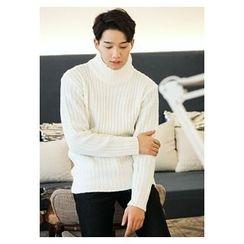 HOTBOOM - Mock-Neck Wool Blend Sweater