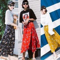 EFO - Floral Chiffon Long Skirt