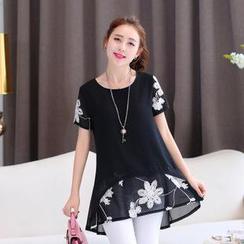 AiSun - Short-Sleeve Floral Chiffon Top