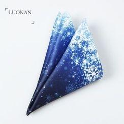 Luonan - 雪花印花口袋方巾