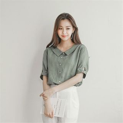 Styleberry - Puff-Sleeve Band-Back Blouse